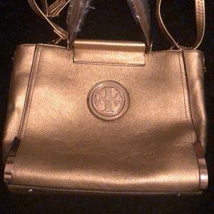 New! Tory Burch handbag Gold with gold emblem